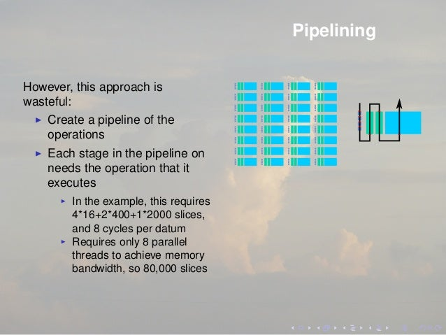 Pipelining However, this approach is wasteful: Create a pipeline of the operations Each stage in the pipeline on needs the...