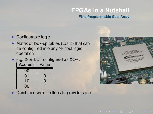 FPGAs in a Nutshell Field-Programmable Gate Array Configurable logic Matrix of look-up tables (LUTs) that can be configured ...
