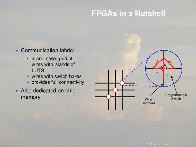 FPGAs in a Nutshell Communication fabric: island-style: grid of wires with islands of LUTS wires with switch boxes provide...