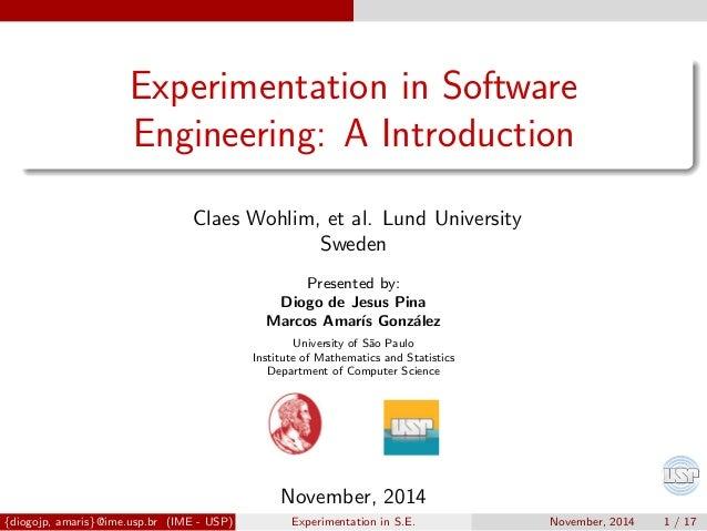 basics of software engineering experimentation
