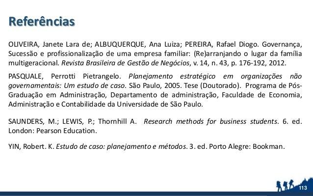 Referências OLIVEIRA, Janete Lara de; ALBUQUERQUE, Ana Luiza; PEREIRA, Rafael Diogo. Governança, Sucessão e profissionaliz...