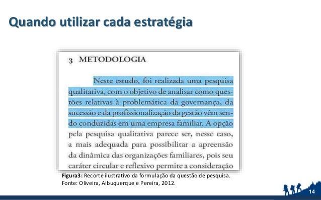 Quando utilizar cada estratégia 14 Figura3: Recorte ilustrativo da formulação da questão de pesquisa. Fonte: Oliveira, Alb...