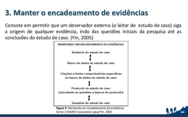 3. Manter o encadeamento de evidências Consiste em permitir que um observador externo (o leitor do estudo de caso) siga a ...