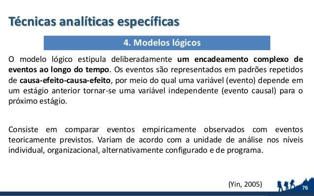 Técnicas analíticas específicas O modelo lógico estipula deliberadamente um encadeamento complexo de eventos ao longo do t...