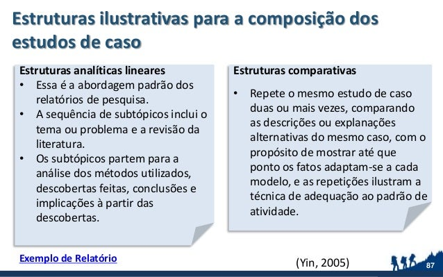 Estruturas ilustrativas para a composição dos estudos de caso 87 Estruturas analíticas lineares • Essa é a abordagem padrã...