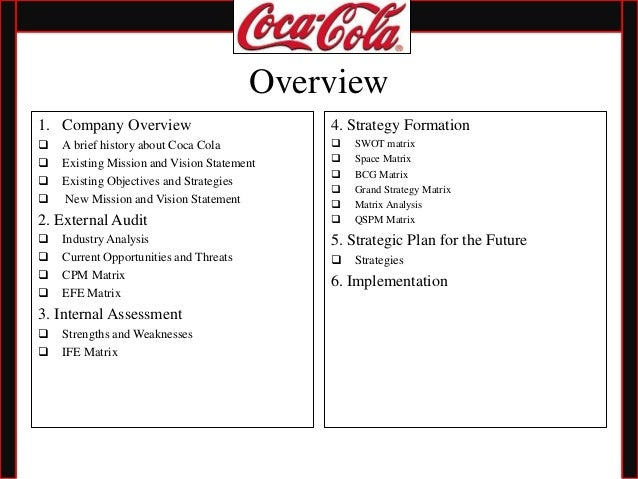 coca-cola external marketing audit essay The principal auditor is responsible for assisting management in assessing the  adequacy of the company's internal control environment by performing audits.
