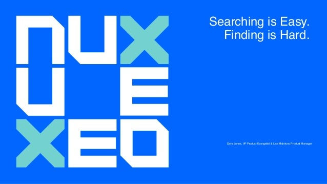 Searching is Easy. Finding is Hard. Dave Jones, VP Product Evangelist & Lisa McIntyre, Product Manager