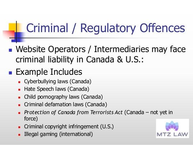 Criminal / Regulatory Offences  Website Operators / Intermediaries may face criminal liability in Canada & U.S.:  Exampl...