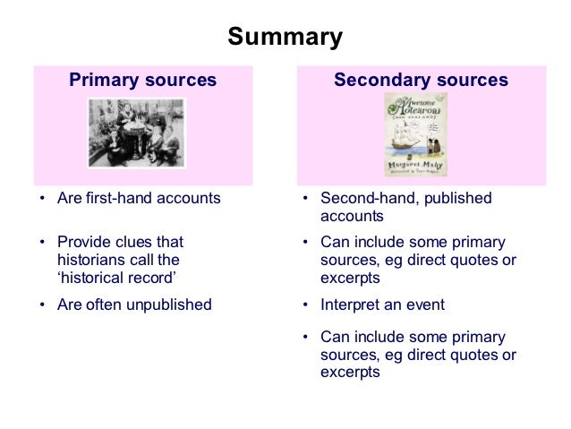 Overview of primary sources