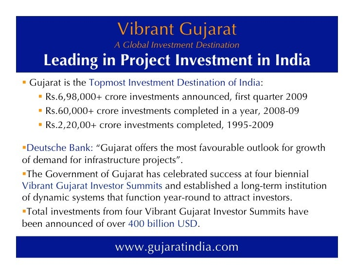 Vibrant Gujarat                      A Global Investment Destination        Leading in Project Investment in India ! Gujar...