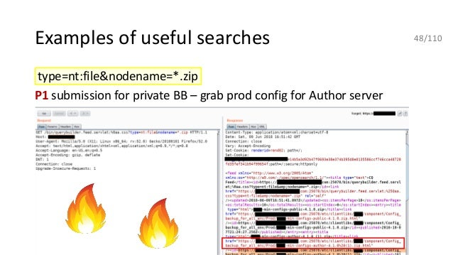 Examples of useful searches type=nt:file&nodename=*.zip P1 submission for private BB – grab prod config for Author server ...
