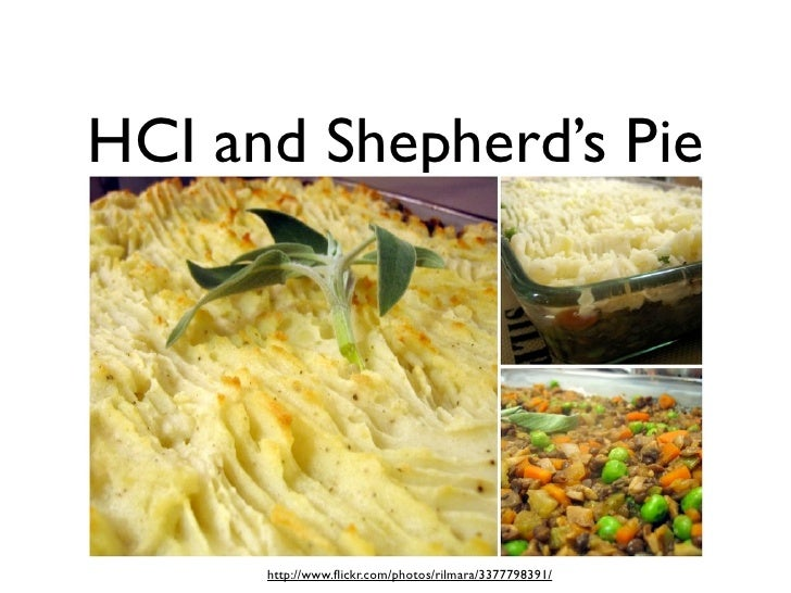 HCI and Shepherd's Pie           http://www.flickr.com/photos/rilmara/3377798391/