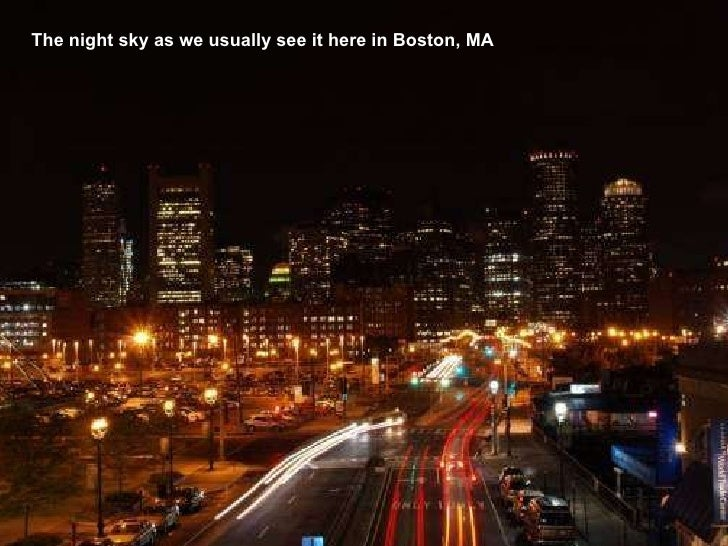The night sky as we usually see it here in Boston, MA