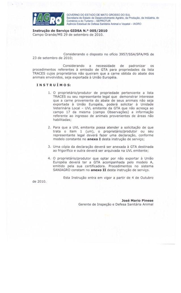 Instrução de Serviço GlOSA N.O 005/2010 Campo Grande/MS 29 de setembro de 2010. Considerando o disposto no ofício 3957/SSA...