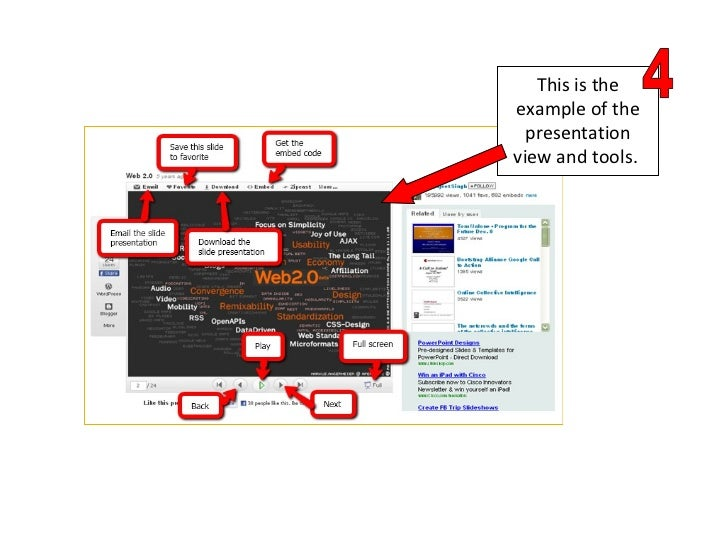 This is the example of the presentation view and tools.  4