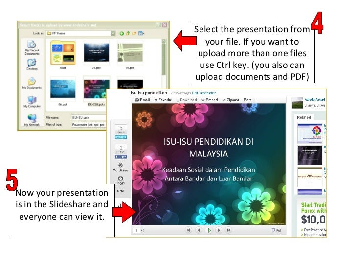 Select the presentation from your file. If you want to upload more than one files use Ctrl key. (you also can upload docum...