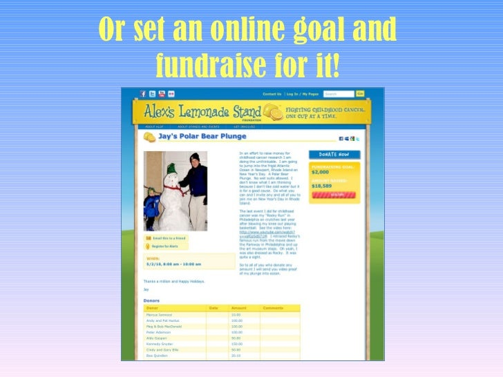 Fundraising Ideas for Alex's Lemonade Stand Foundation