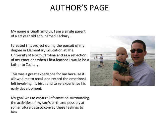 AUTHOR'S PAGEMy name is Geoff Smoluk, I am a single parentof a six year old son, named Zachary.I created this project duri...
