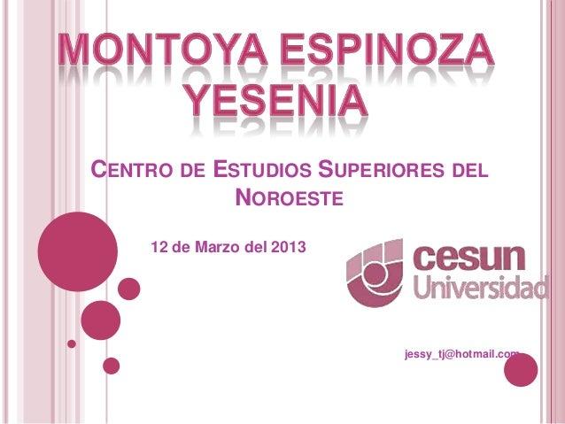 CENTRO DE ESTUDIOS SUPERIORES DEL            NOROESTE    12 de Marzo del 2013                           jessy_tj@hotmail.com