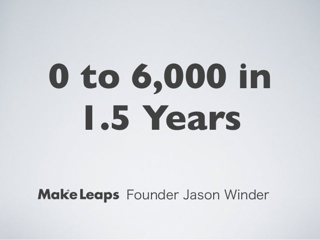 Founder Jason Winder0 to 6,000 in1.5 Years