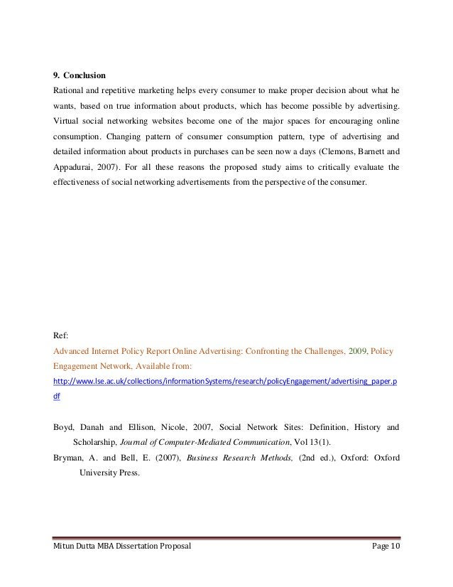 Mitun Dutta MBA Dissertation Proposal Page 109. ConclusionRational and repetitive marketing helps every consumer to make p...