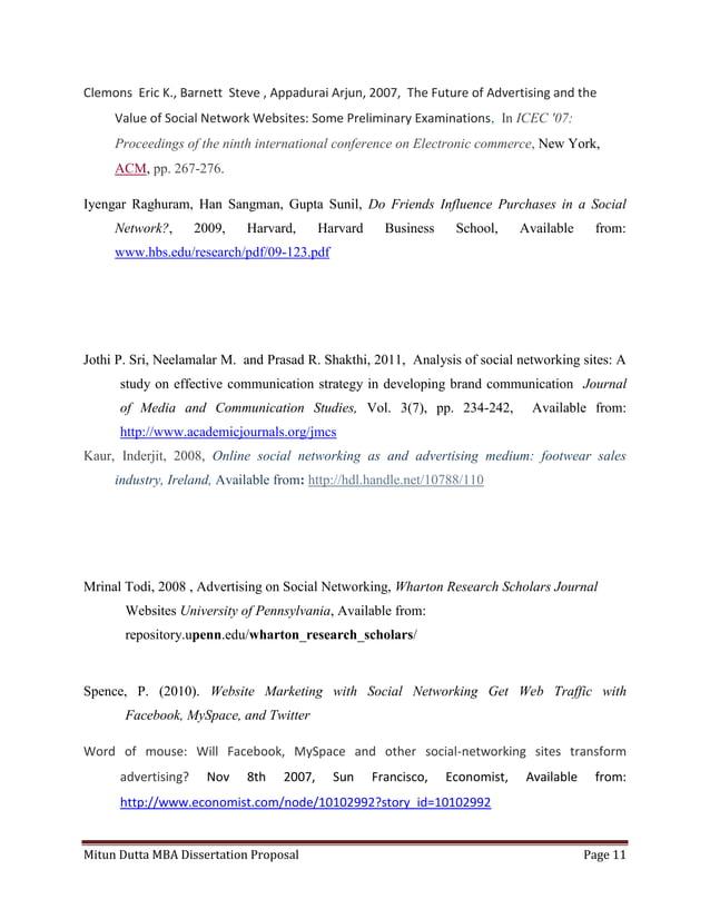 Mitun Dutta MBA Dissertation Proposal Page 11Clemons Eric K., Barnett Steve , Appadurai Arjun, 2007, The Future of Adverti...