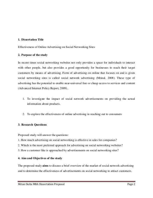 Mitun Dutta MBA Dissertation Proposal Page 21. Dissertation TitleEffectiveness of Online Advertising on Social Networking ...