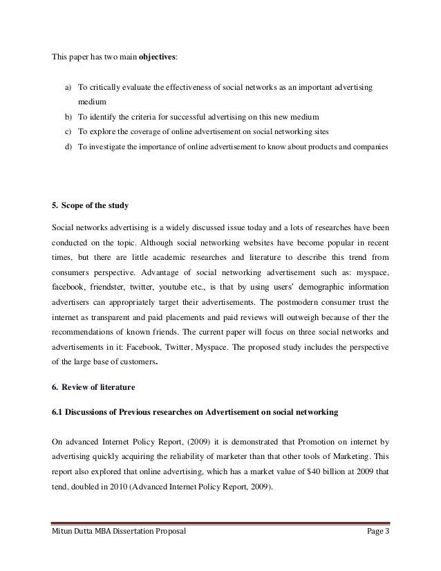 Mitun Dutta MBA Dissertation Proposal Page 3This paper has two main objectives:a) To critically evaluate the effectiveness...