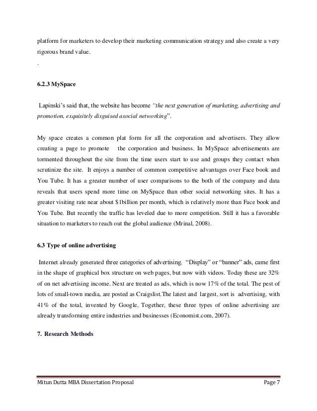 Mitun Dutta MBA Dissertation Proposal Page 7platform for marketers to develop their marketing communication strategy and a...