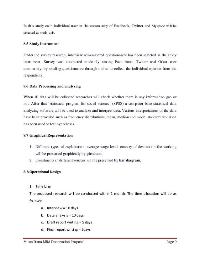 Mitun Dutta MBA Dissertation Proposal Page 9In this study each individual user in the community of Facebook, Twitter and M...