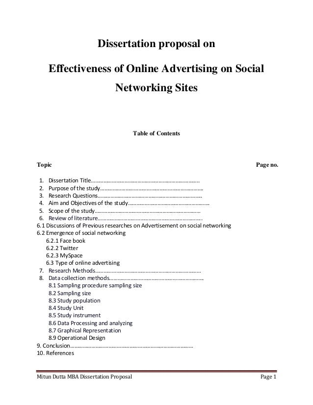 Example of marketing dissertation proposal