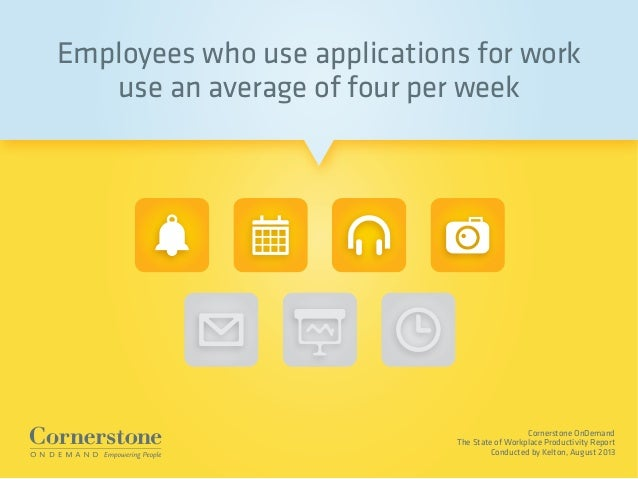 Cornerstone OnDemand The State of Workplace Productivity Report Conducted by Kelton, August 2013 Employees who use applica...