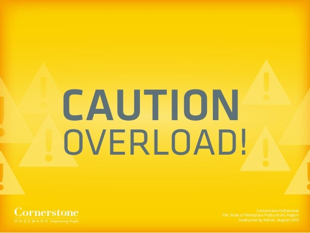 Cornerstone OnDemand The State of Workplace Productivity Report Conducted by Kelton, August 2013 CAUTION OVERLOAD!