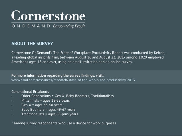 ABOUT THE SURVEY Cornerstone OnDemand's The State of Workplace Productivity Report was conducted by Kelton, a leading glob...