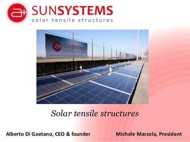 Solar tensile structures Alberto Di Gaetano, CEO & founder  Michele Marzola, President
