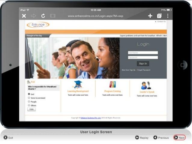 Demo of Enhance LMS Platform: IPAD  www.enhancelearning.co.in