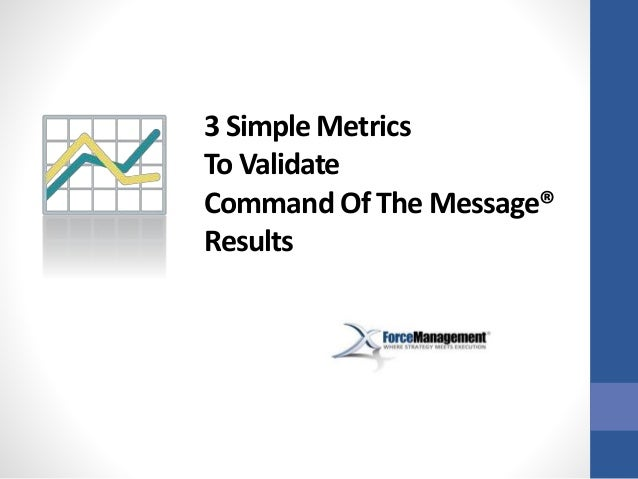 3 Simple Metrics To Validate Command Of The Message® Results
