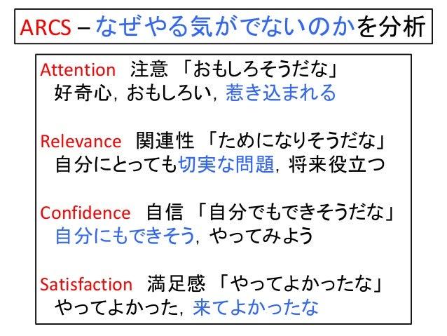 Attention 注意 「おもしろそうだな」 好奇心,おもしろい,惹き込まれる Relevance 関連性 「ためになりそうだな」 自分にとっても切実な問題,将来役立つ Confidence 自信 「自分でもできそうだな」 自分にもできそう,...