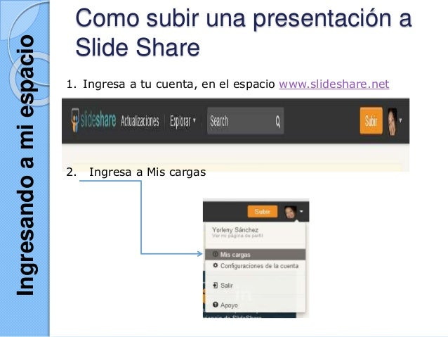 Como subir una presentación a Slide Share 1. Ingresa a tu cuenta, en el espacio www.slideshare.net 2. Ingresa a Mis cargas...