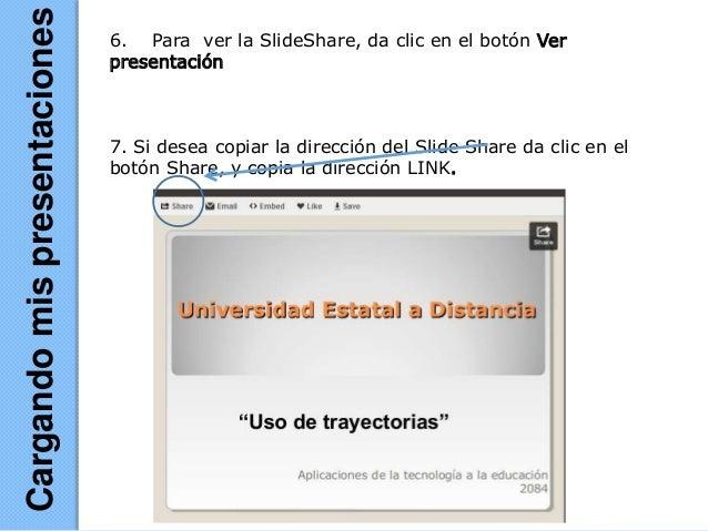 6. Para ver la SlideShare, da clic en el botón Ver presentación 7. Si desea copiar la dirección del Slide Share da clic en...