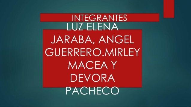 INTEGRANTES  LUZ ELENA  JARABA, ANGEL  GUERRERO.MIRLEY  MACEA Y  DEVORA  PACHECO