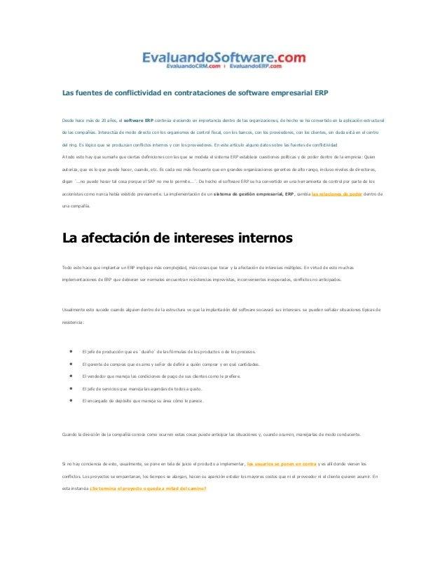 Las fuentes de conflictividad en contrataciones de software empresarial ERP  Desde hace más de 20 años, el software ERP co...