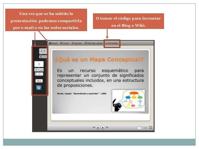 Una vez que se ha subido la presentación podemos compartirla por e-mail o en las redes sociales.  O tomar el código para i...