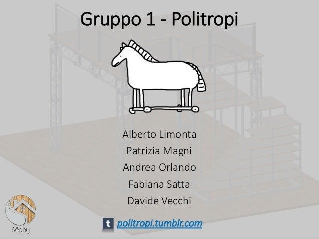 Alberto Limonta Patrizia Magni Andrea Orlando Fabiana Satta Davide Vecchi politropi.tumblr.com Gruppo 1 - Politropi