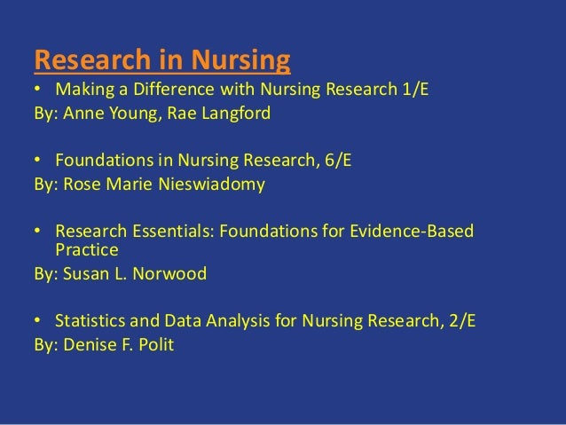 Research in Nursing • Making a Difference with Nursing Research 1/E By: Anne Young, Rae Langford • Foundations in Nursing ...