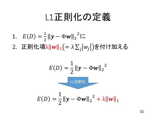 L1正則化の定義 1. 𝐸 𝐷 = 1 2 𝒚 − Φ𝒘 2 2 に 2. 正則化項λ 𝒘 1 = λ 𝑗 𝑤𝑗 を付け加える 32 𝐸 𝐷 = 1 2 𝒚 − Φ𝒘 2 2 𝐸 𝐷 = 1 2 𝒚 − Φ𝒘 2 2 + λ 𝒘 1 L1正則化