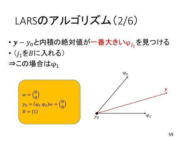 LARSのアルゴリズム(2/6) • 𝒚 − 𝑦0と内積の絶対値が一番大きいφ 𝑗1 を見つける • (𝑗1を𝐵に入れる) ⇒この場合はφ1 59 φ1 φ2 𝒚 𝑦0 𝑤 = 0 0 𝑦0 = φ1 φ2 𝑤 = 0 0 𝐵 = {1}