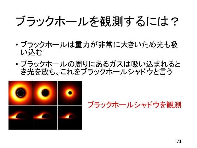 ブラックホールを観測するには? • ブラックホールは重力が非常に大きいため光も吸 い込む • ブラックホールの周りにあるガスは吸い込まれると き光を放ち、これをブラックホールシャドウと言う ブラックホールシャドウを観測 71