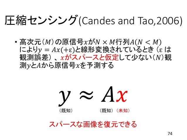 圧縮センシング(Candes and Tao,2006) • 高次元(𝑀)の原信号𝑥が𝑁 × 𝑀行列𝐴 𝑁 < 𝑀 により𝑦 = 𝐴𝑥(+ε)と線形変換されているとき (ε は 観測誤差) 、 𝑥がスパースと仮定して少ない(𝑁)観 測𝑦と𝐴から...