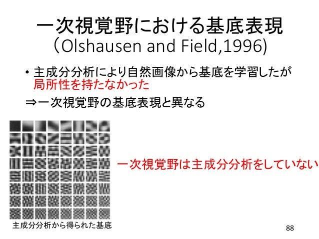 一次視覚野における基底表現 (Olshausen and Field,1996) • 主成分分析により自然画像から基底を学習したが 局所性を持たなかった ⇒一次視覚野の基底表現と異なる 88 一次視覚野は主成分分析をしていない 主成分分析から得...